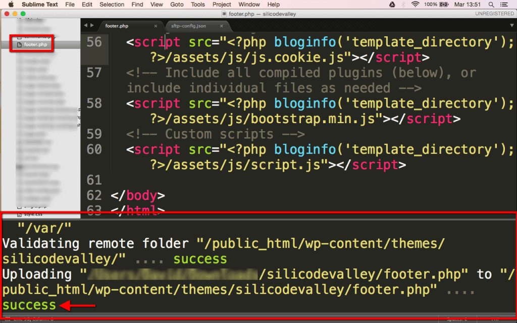 ejemplo SFTP Sublime Text